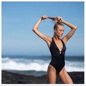 NWT Tori Praver Black Maxime Plunge 1PC Swimsuit S